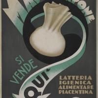 Una pubblicità della Latteria Igienica Alimentare Piacentina, firmata da Franco Sassi nel 1935 (Civica Raccolta delle stampe Achille Bertarelli di Milano).