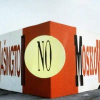 "1986 – Allestimento dello spazio Fgci alla Festa dell'Unità di Modena (""No Washington, No Moscow""). [art direction Elisabetta Ognibene, copy Francesco Ricci, Avenida]"