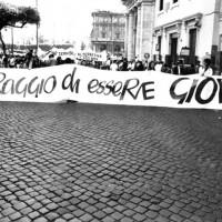1989 – Manifestazione nazionale Fgci, 6 maggio, Roma. [art direction Elisabetta Ognibene/ Avenida]