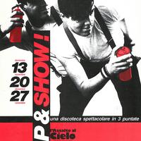 """1984 - Locandina di """"Rap&Show"""", iniziativa organizzata da Kennedy's Studios e dalla redazione di """"L'Assalto al Cielo"""", rivista della Fgci modenese. [art direction Elisabetta Ognibene/Kennedy's studios]"""